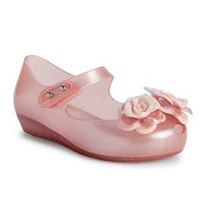 Mini Mellissa Pink Mary Jane Floral Shoe Sz 7